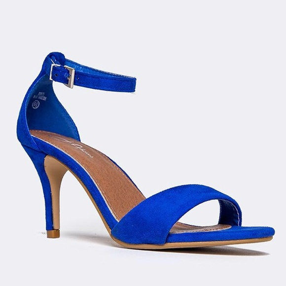 d0e9b3fd43 J. Adams Shoes | Jadams Cobalt Blue Low Heeled Ankle Strap Sandal ...